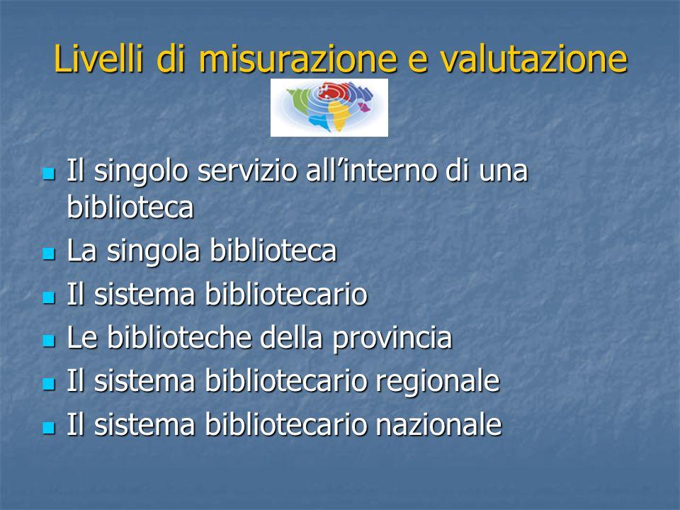 Livelli di misurazione e valutazione Il singolo servizio allinterno di una biblioteca Il singolo servizio allinterno di una biblioteca La singola bibl