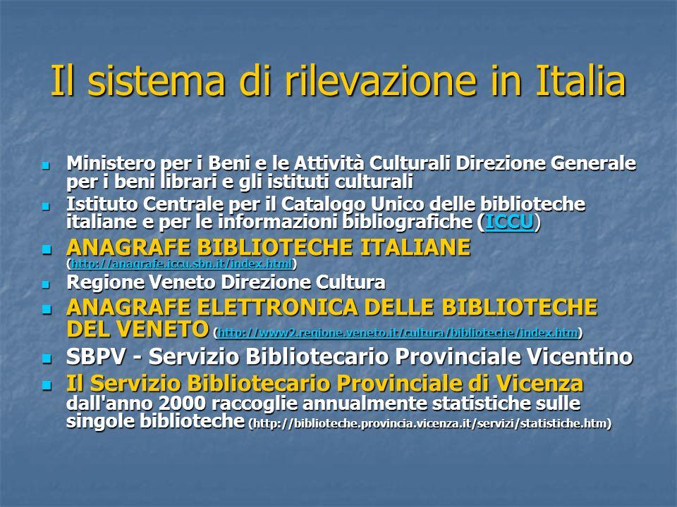 Il sistema di rilevazione in Italia Ministero per i Beni e le Attività Culturali Direzione Generale per i beni librari e gli istituti culturali Minist