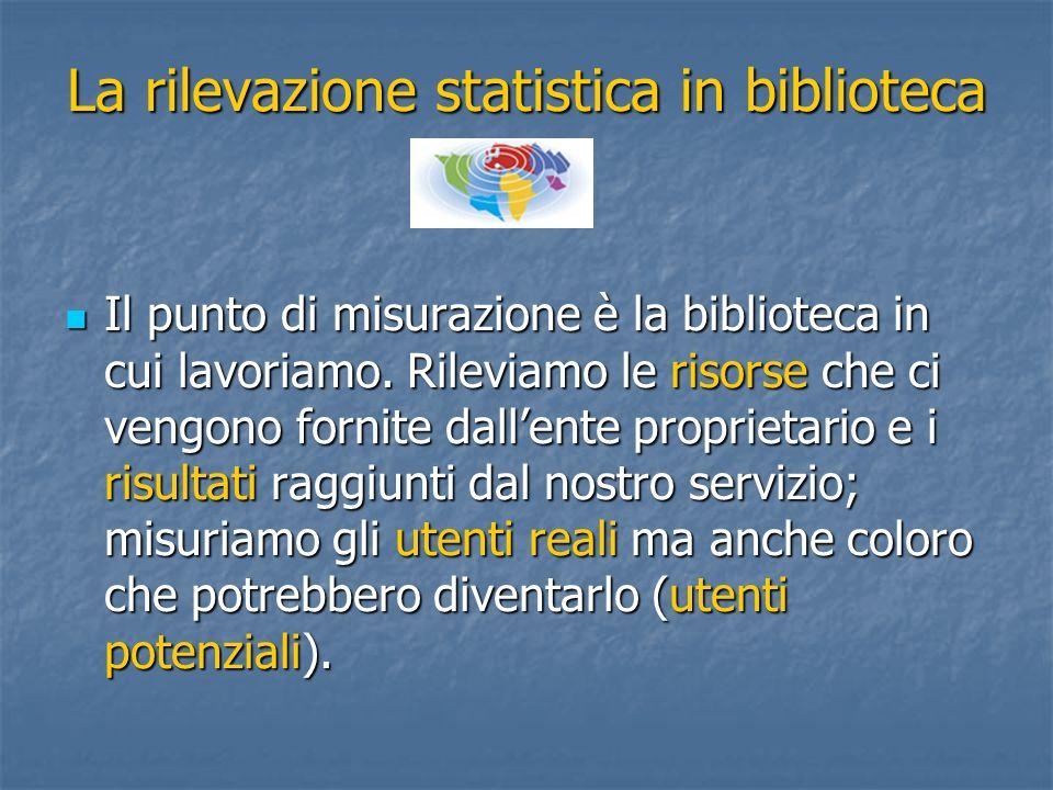 La rilevazione statistica in biblioteca Il punto di misurazione è la biblioteca in cui lavoriamo. Rileviamo le risorse che ci vengono fornite dallente