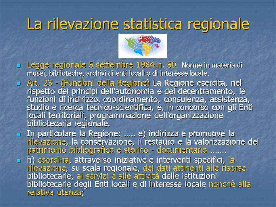 La rilevazione statistica regionale Legge regionale 5 settembre 1984 n. 50 Norme in materia di musei, biblioteche, archivi di enti locali o di interes