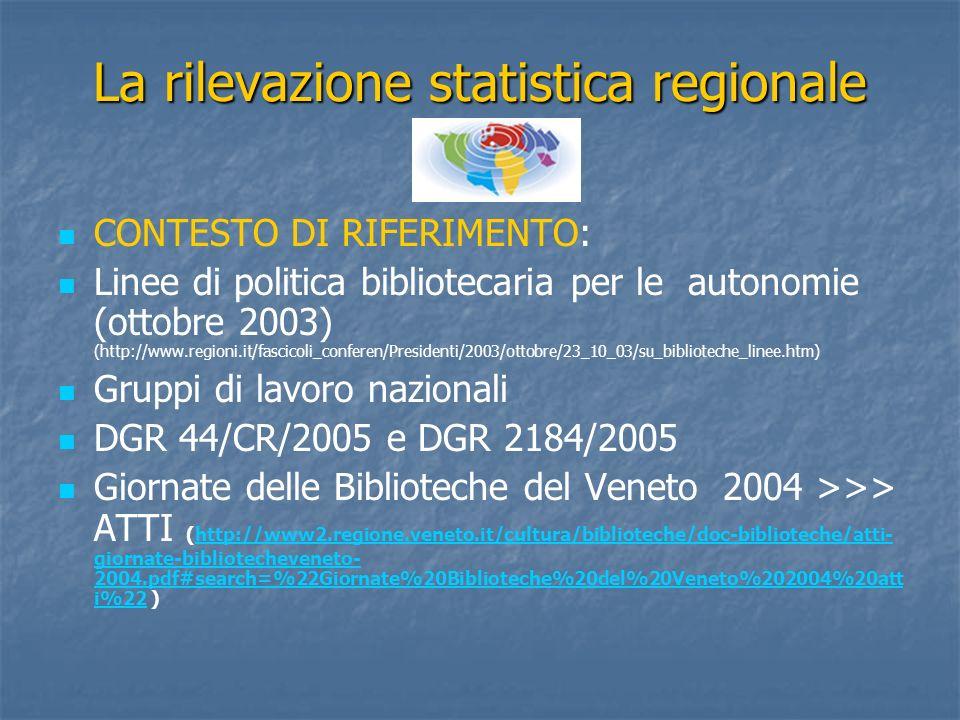 La rilevazione statistica regionale CONTESTO DI RIFERIMENTO: Linee di politica bibliotecaria per le autonomie (ottobre 2003) (http://www.regioni.it/fa