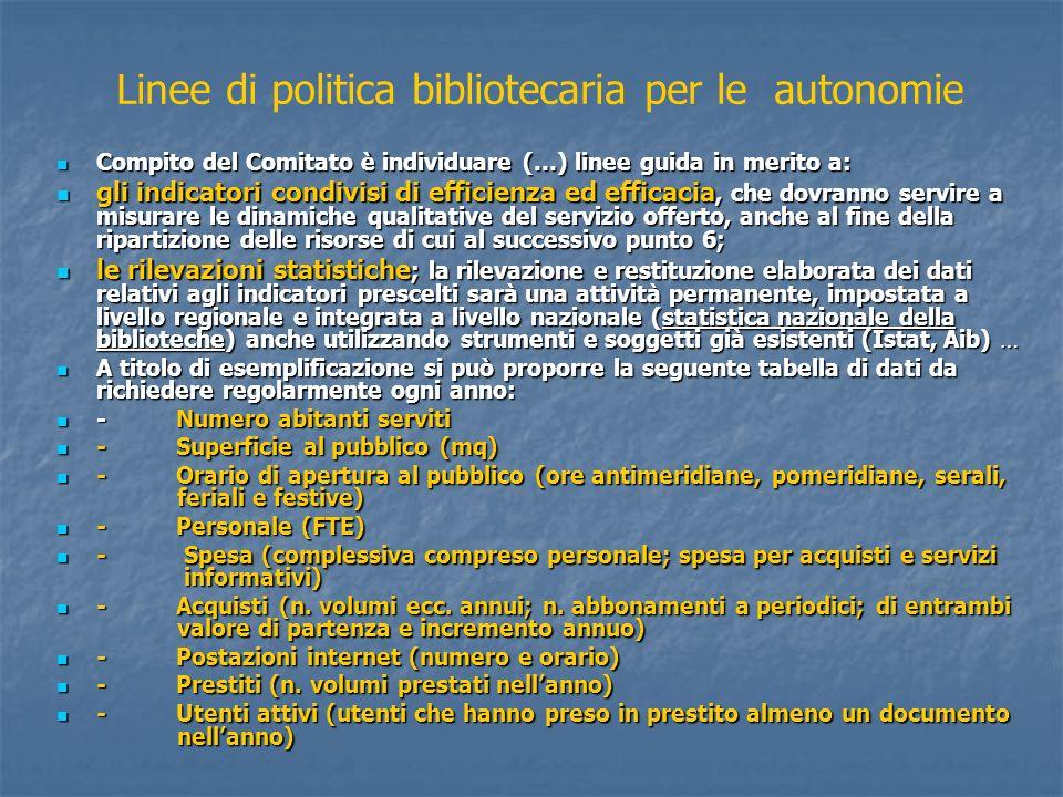 Linee di politica bibliotecaria per le autonomie Compito del Comitato è individuare (…) linee guida in merito a: Compito del Comitato è individuare (…