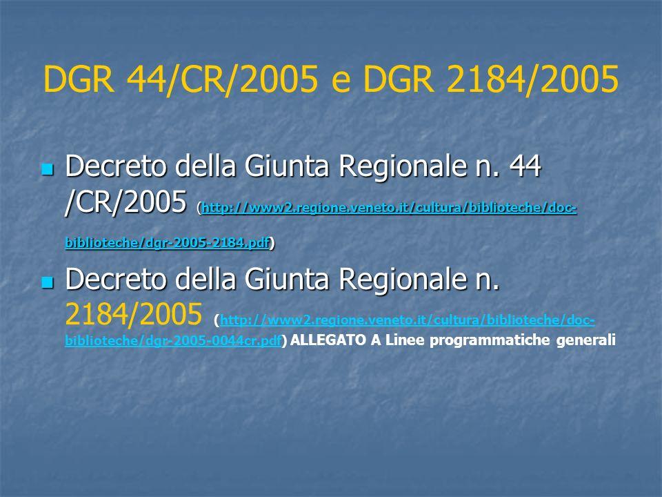 DGR 44/CR/2005 e DGR 2184/2005 Decreto della Giunta Regionale n. 44 /CR/2005 (http://www2.regione.veneto.it/cultura/biblioteche/doc- biblioteche/dgr-2