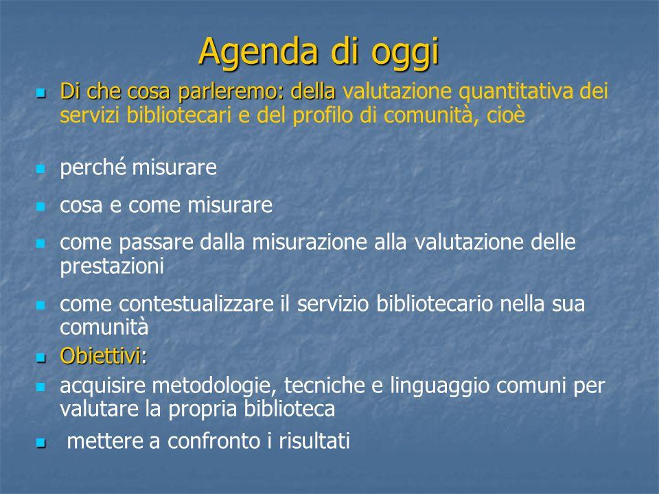 Agenda di oggi Di che cosa parleremo: della Di che cosa parleremo: della valutazione quantitativa dei servizi bibliotecari e del profilo di comunità,
