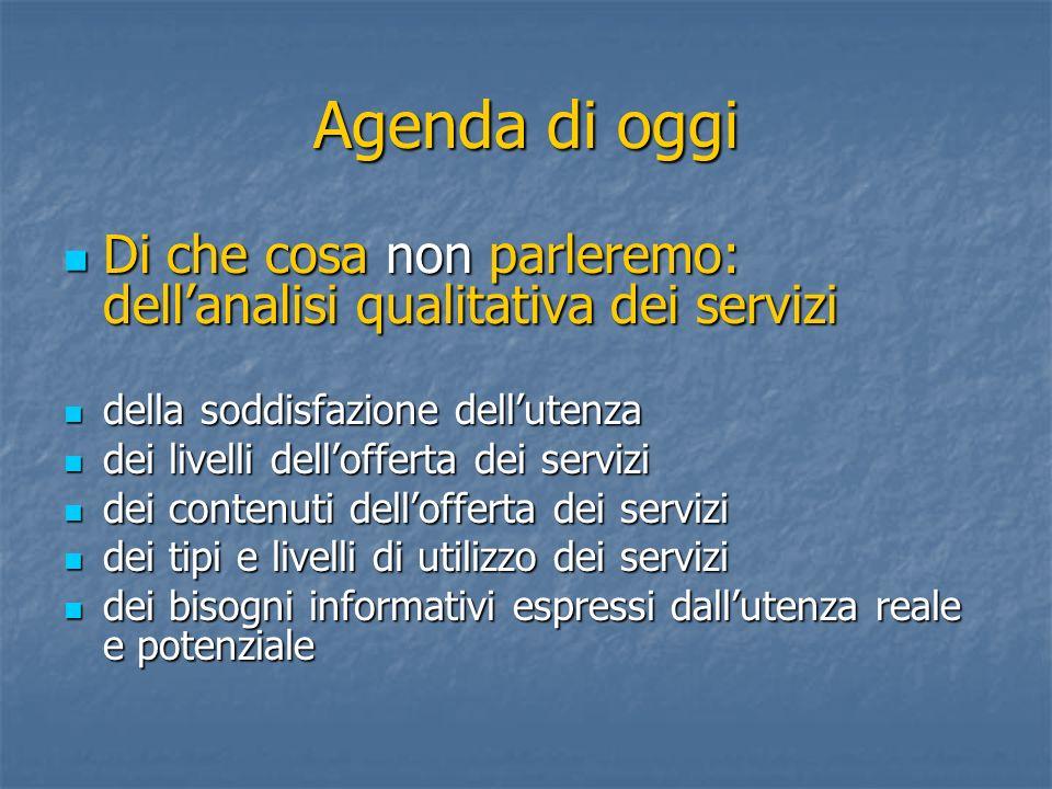 Agenda di oggi Di che cosa non parleremo: dellanalisi qualitativa dei servizi Di che cosa non parleremo: dellanalisi qualitativa dei servizi della sod