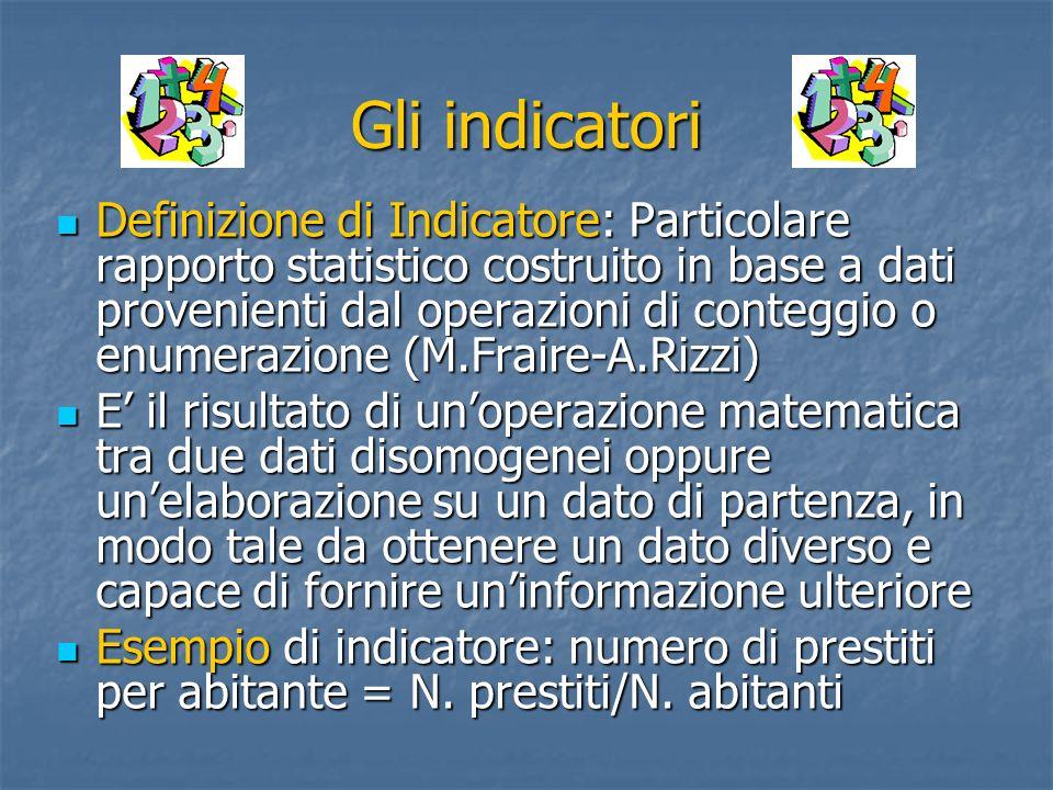 Gli indicatori Definizione di Indicatore: Particolare rapporto statistico costruito in base a dati provenienti dal operazioni di conteggio o enumerazi