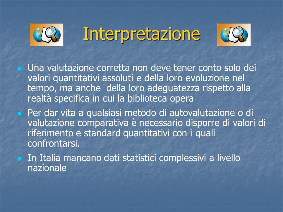 Interpretazione Una valutazione corretta non deve tener conto solo dei valori quantitativi assoluti e della loro evoluzione nel tempo, ma anche della