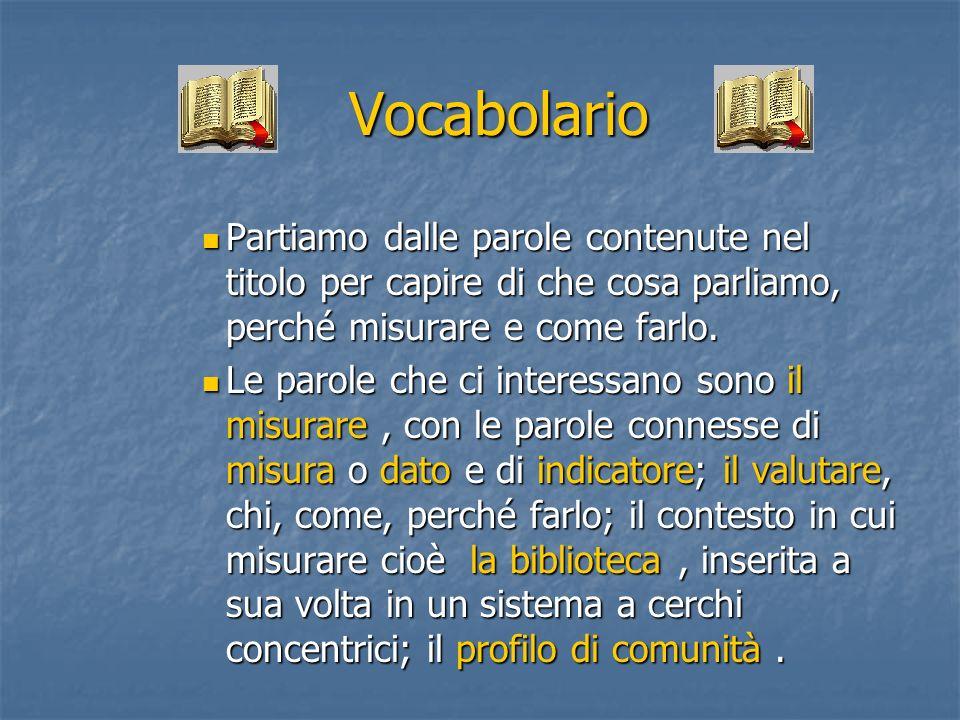 Vocabolario Vocabolario Partiamo dalle parole contenute nel titolo per capire di che cosa parliamo, perché misurare e come farlo. Partiamo dalle parol