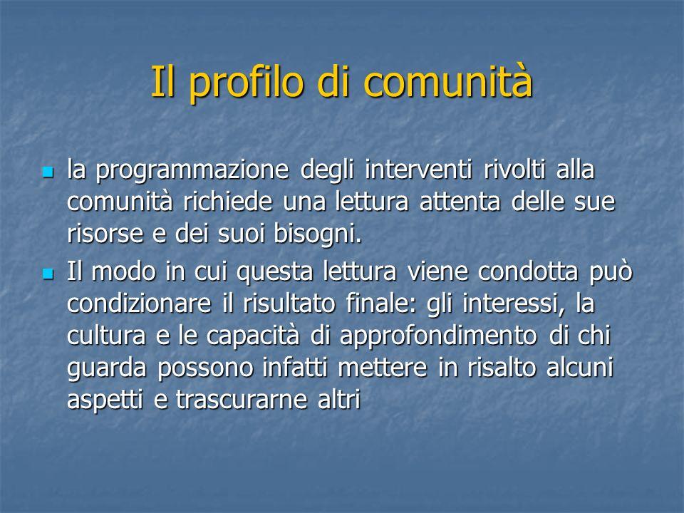 Il profilo di comunità la programmazione degli interventi rivolti alla comunità richiede una lettura attenta delle sue risorse e dei suoi bisogni. la