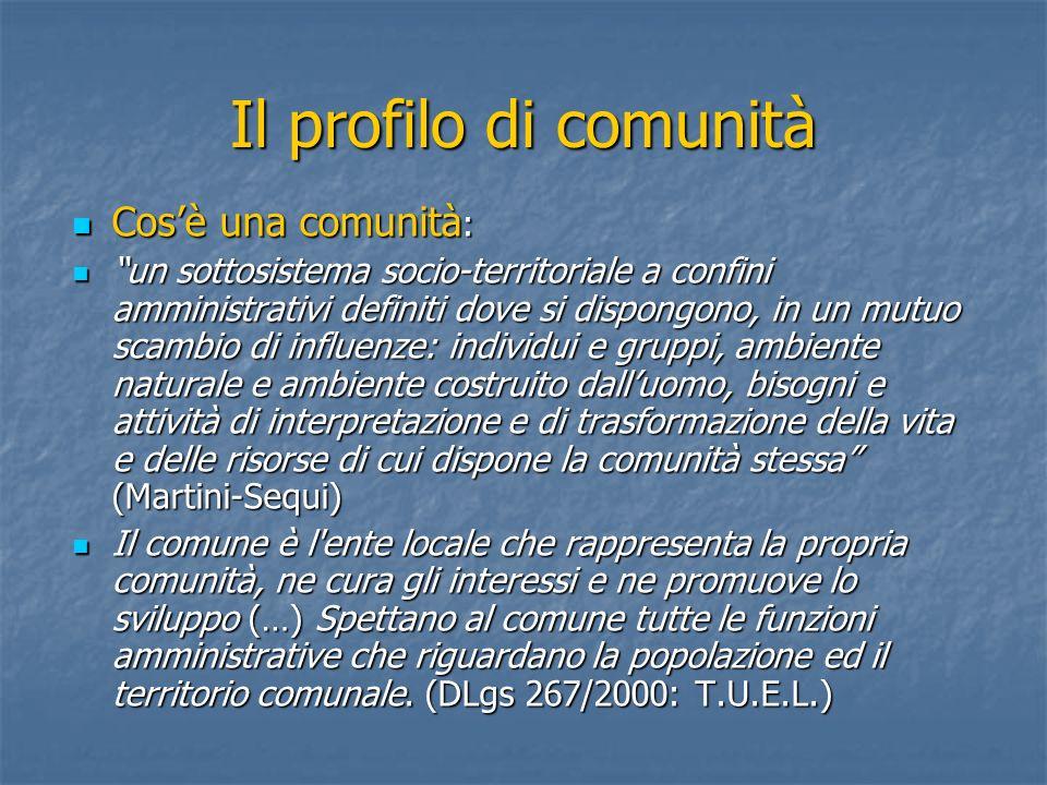 Il profilo di comunità Cosè una comunità : Cosè una comunità : un sottosistema socio-territoriale a confini amministrativi definiti dove si dispongono