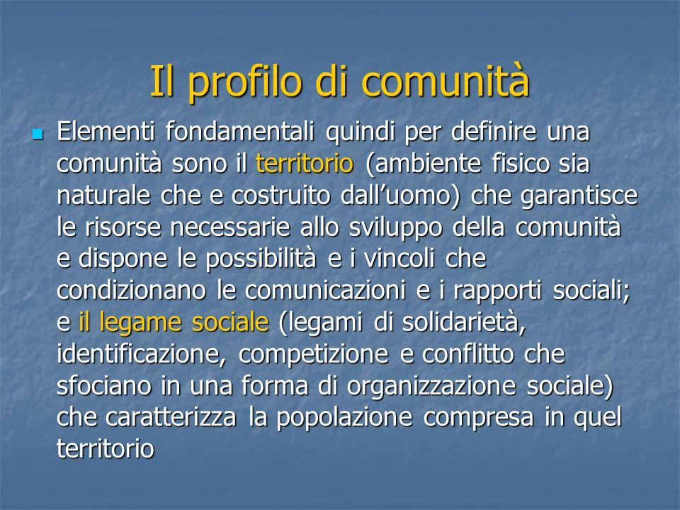 Il profilo di comunità Elementi fondamentali quindi per definire una comunità sono il territorio (ambiente fisico sia naturale che e costruito dalluom