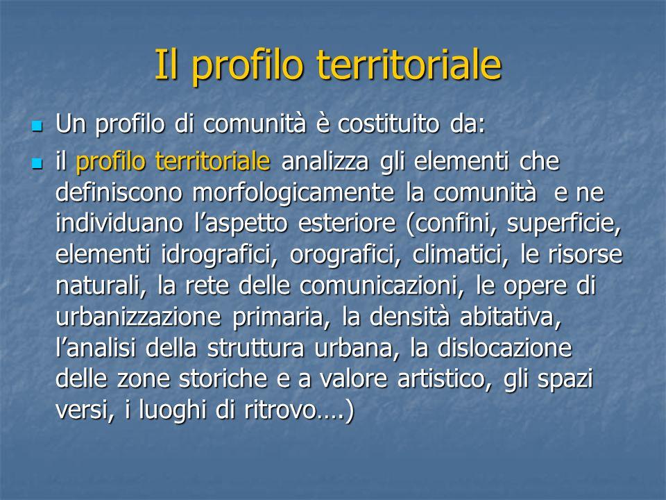 Il profilo territoriale Un profilo di comunità è costituito da: Un profilo di comunità è costituito da: il profilo territoriale analizza gli elementi