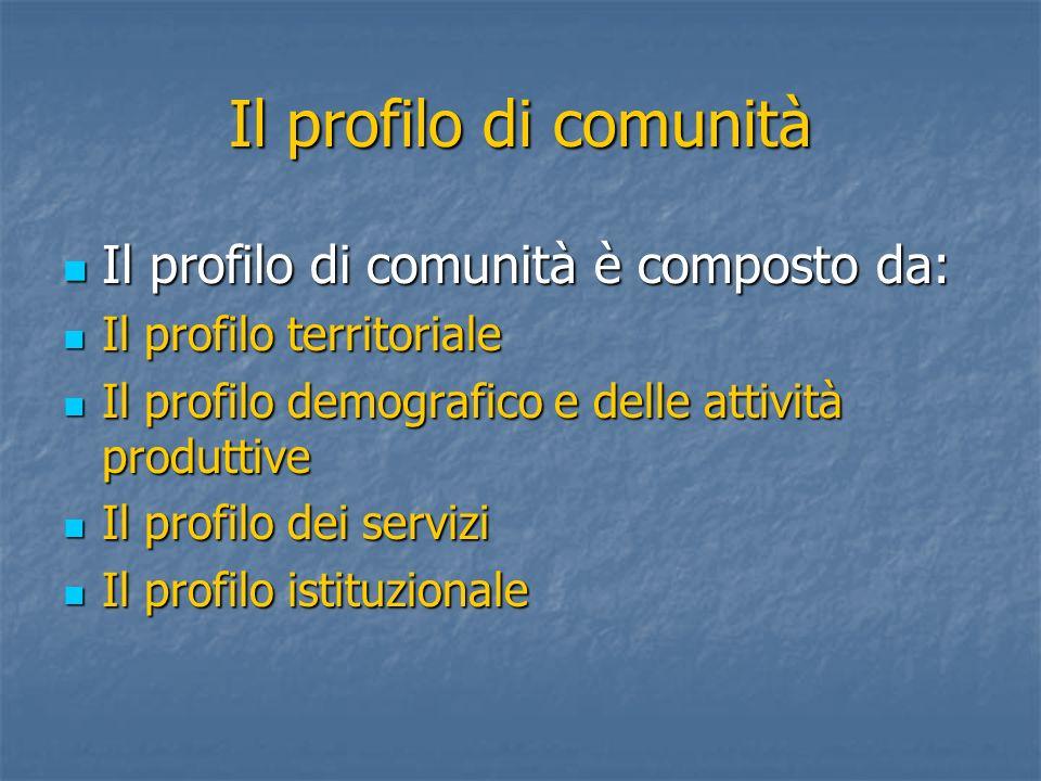 Il profilo di comunità è composto da: Il profilo di comunità è composto da: Il profilo territoriale Il profilo territoriale Il profilo demografico e d