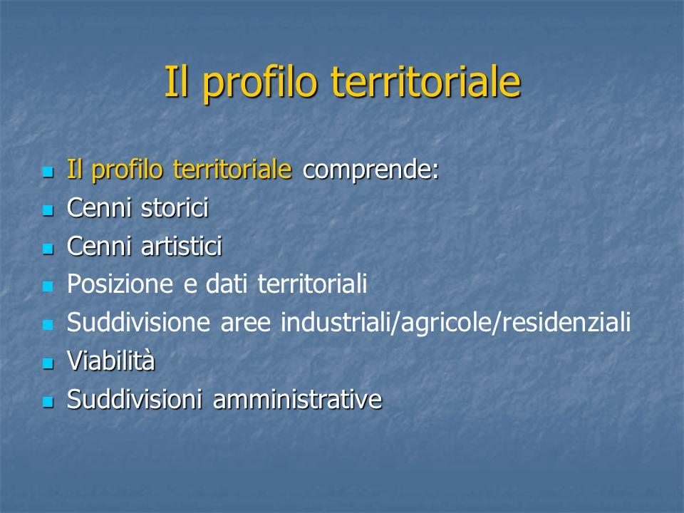 Il profilo territoriale Il profilo territoriale comprende: Il profilo territoriale comprende: Cenni storici Cenni storici Cenni artistici Cenni artist