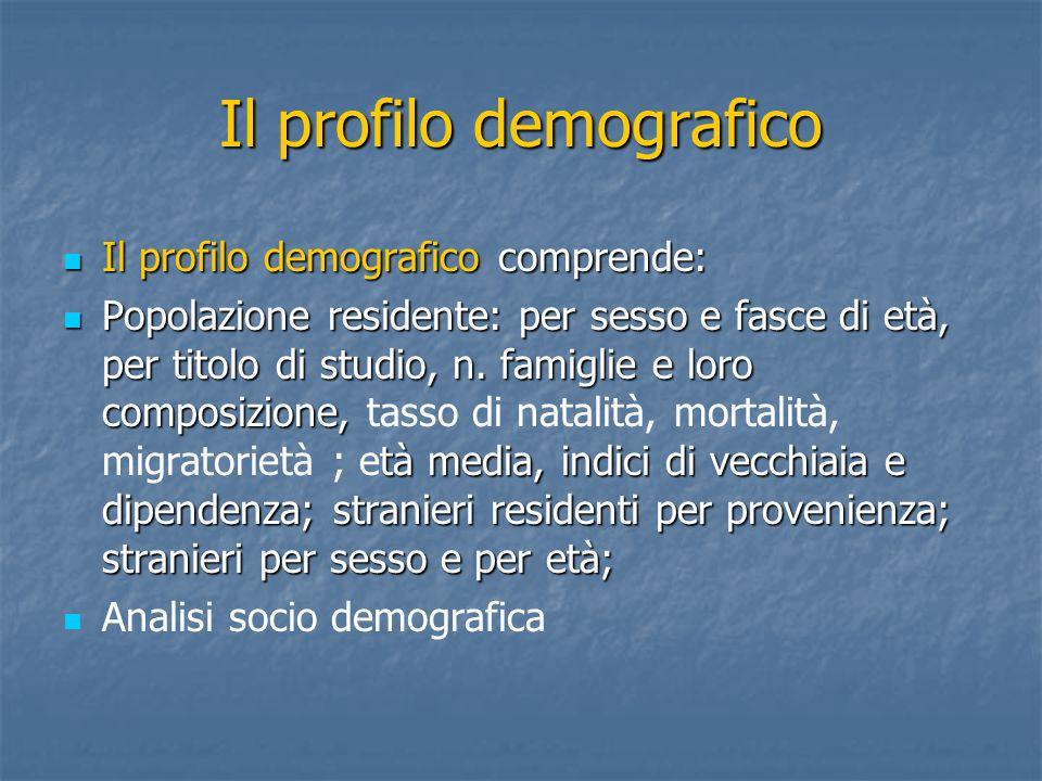 Il profilo demografico Il profilo demografico comprende: Il profilo demografico comprende: Popolazione residente: per sesso e fasce di età, per titolo