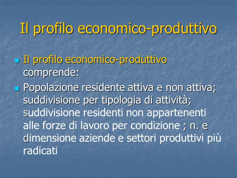 Il profilo economico-produttivo Il profilo economico-produttivo comprende: Il profilo economico-produttivo comprende: Popolazione residente attiva e n