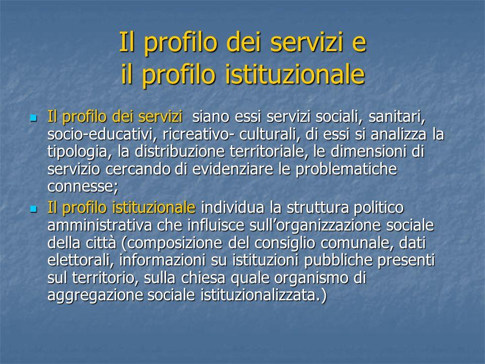 Il profilo dei servizi e il profilo istituzionale Il profilo dei servizi siano essi servizi sociali, sanitari, socio-educativi, ricreativo- culturali,