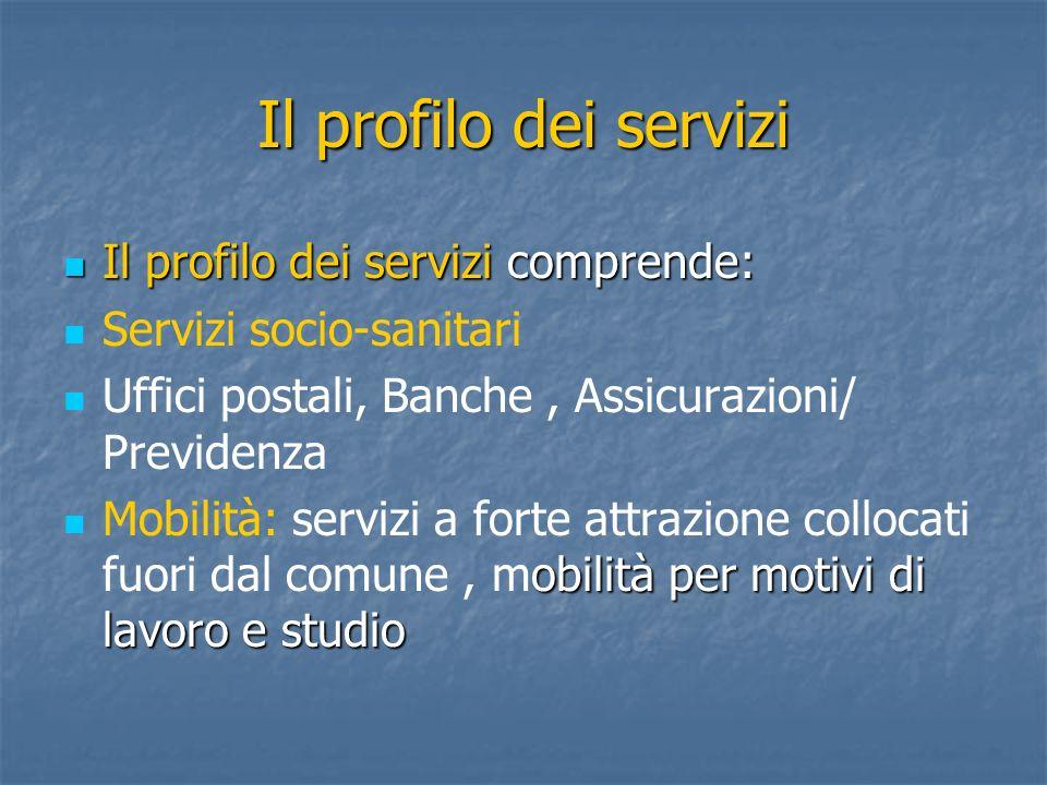 Il profilo dei servizi Il profilo dei servizi comprende: Il profilo dei servizi comprende: Servizi socio-sanitari Uffici postali, Banche, Assicurazion