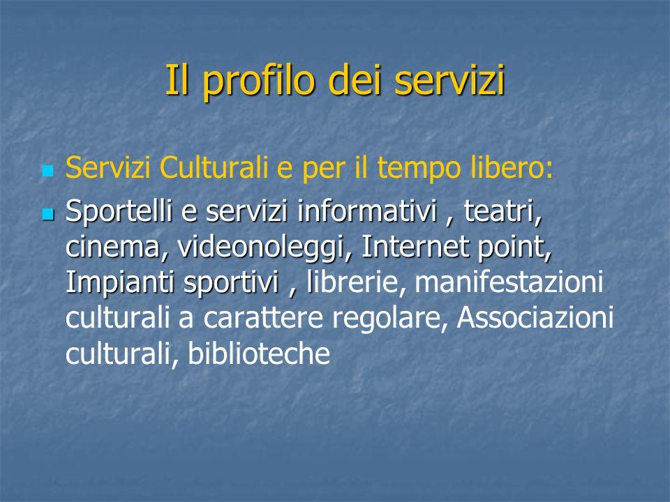 Il profilo dei servizi Servizi Culturali e per il tempo libero: Sportelli e servizi informativi, teatri, cinema, videonoleggi, Internet point, Impiant