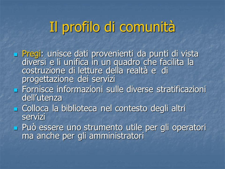 Il profilo di comunità Pregi: unisce dati provenienti da punti di vista diversi e li unifica in un quadro che facilita la costruzione di letture della