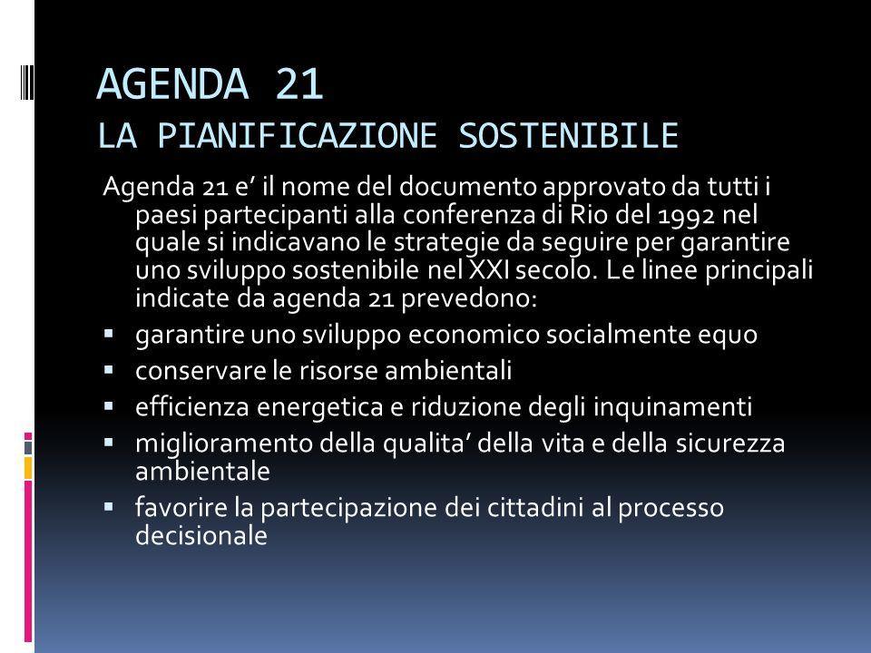 AGENDA 21 LA PIANIFICAZIONE SOSTENIBILE Agenda 21 e il nome del documento approvato da tutti i paesi partecipanti alla conferenza di Rio del 1992 nel quale si indicavano le strategie da seguire per garantire uno sviluppo sostenibile nel XXI secolo.