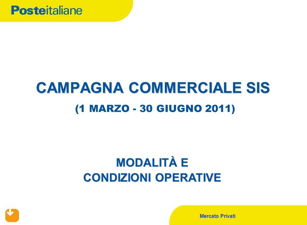 Mercato Privati CAMPAGNA COMMERCIALE SIS CAMPAGNA COMMERCIALE SIS (1 MARZO - 30 GIUGNO 2011) MODALITÀ E CONDIZIONI OPERATIVE