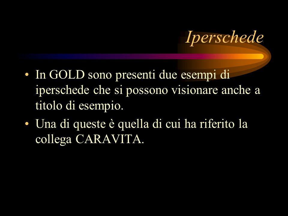 Iperschede In GOLD sono presenti due esempi di iperschede che si possono visionare anche a titolo di esempio.