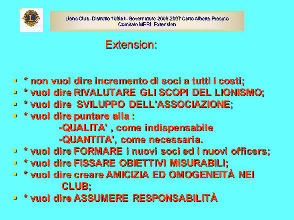 Extension: Extension: * non vuol dire incremento di soci a tutti i costi; * non vuol dire incremento di soci a tutti i costi; * vuol dire RIVALUTARE G