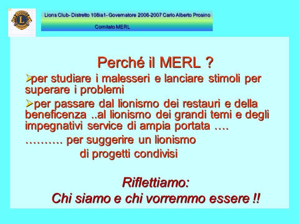 Perché il MERL ? per studiare i malesseri e lanciare stimoli per superare i problemi p per passare dal lionismo dei restauri e della beneficenza..al l