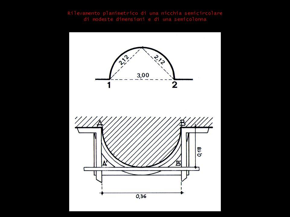 Rilevamento planimetrico di una nicchia semicircolare di modeste dimensioni e di una semicolonna