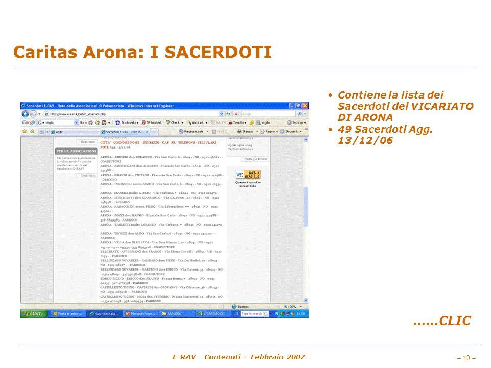 – 10 – E-RAV - Contenuti – Febbraio 2007 Caritas Arona: I SACERDOTI Contiene la lista dei Sacerdoti del VICARIATO DI ARONA 49 Sacerdoti Agg.