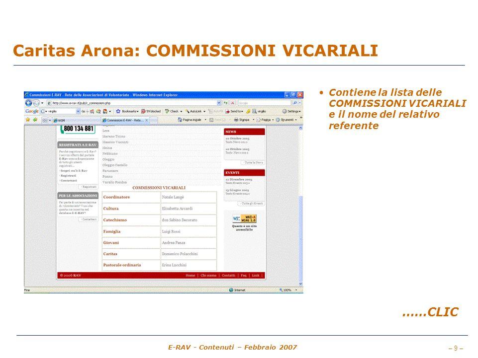 – 9 – E-RAV - Contenuti – Febbraio 2007 Caritas Arona: COMMISSIONI VICARIALI Contiene la lista delle COMMISSIONI VICARIALI e il nome del relativo referente ……CLIC