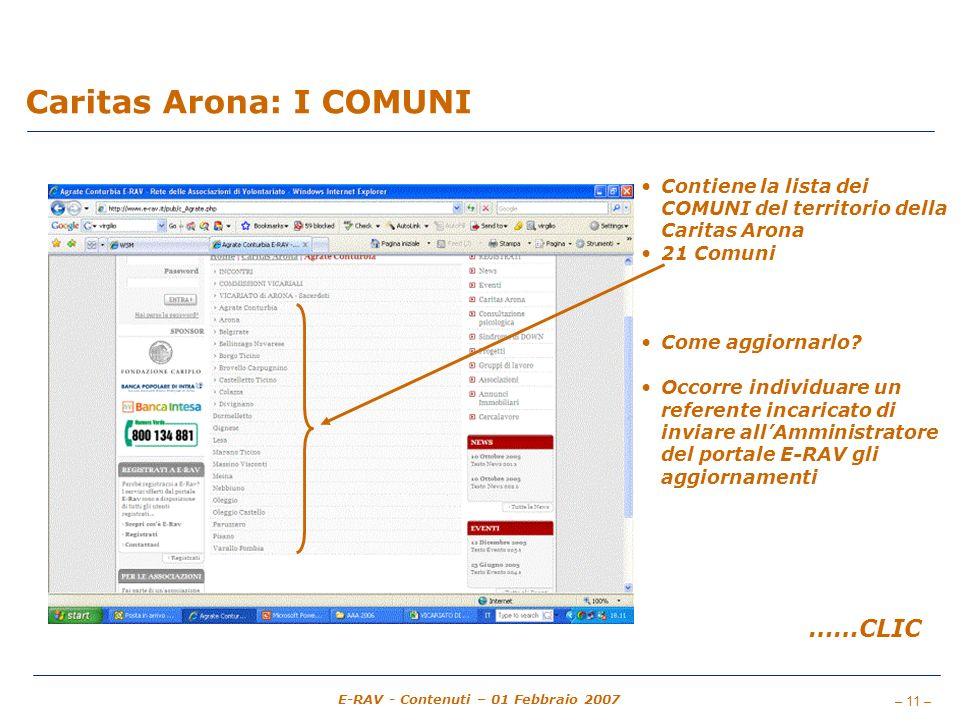 – 11 – E-RAV - Contenuti – 01 Febbraio 2007 Caritas Arona: I COMUNI Contiene la lista dei COMUNI del territorio della Caritas Arona 21 Comuni Come aggiornarlo.