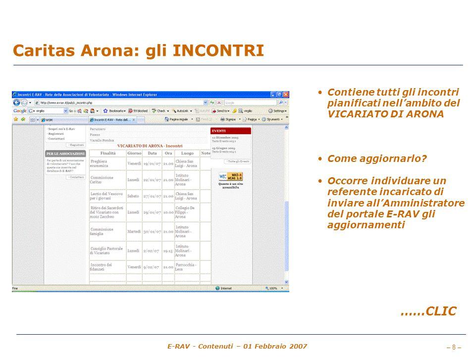 – 8 – E-RAV - Contenuti – 01 Febbraio 2007 Caritas Arona: gli INCONTRI Contiene tutti gli incontri pianificati nellambito del VICARIATO DI ARONA Come aggiornarlo.