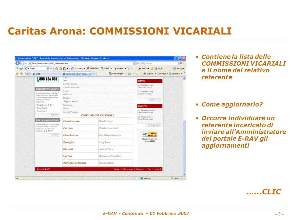 – 9 – E-RAV - Contenuti – 01 Febbraio 2007 Caritas Arona: COMMISSIONI VICARIALI Contiene la lista delle COMMISSIONI VICARIALI e il nome del relativo referente Come aggiornarlo.