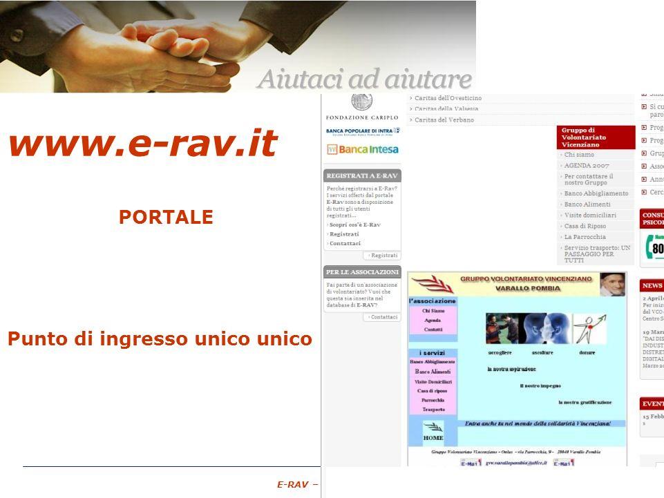 – 10 – E-RAV – 6 Maggio 2007 www.e-rav.it PORTALE Associazioni di Volontariato GRATUITO spazio pubblico Punto di ingresso unico unico