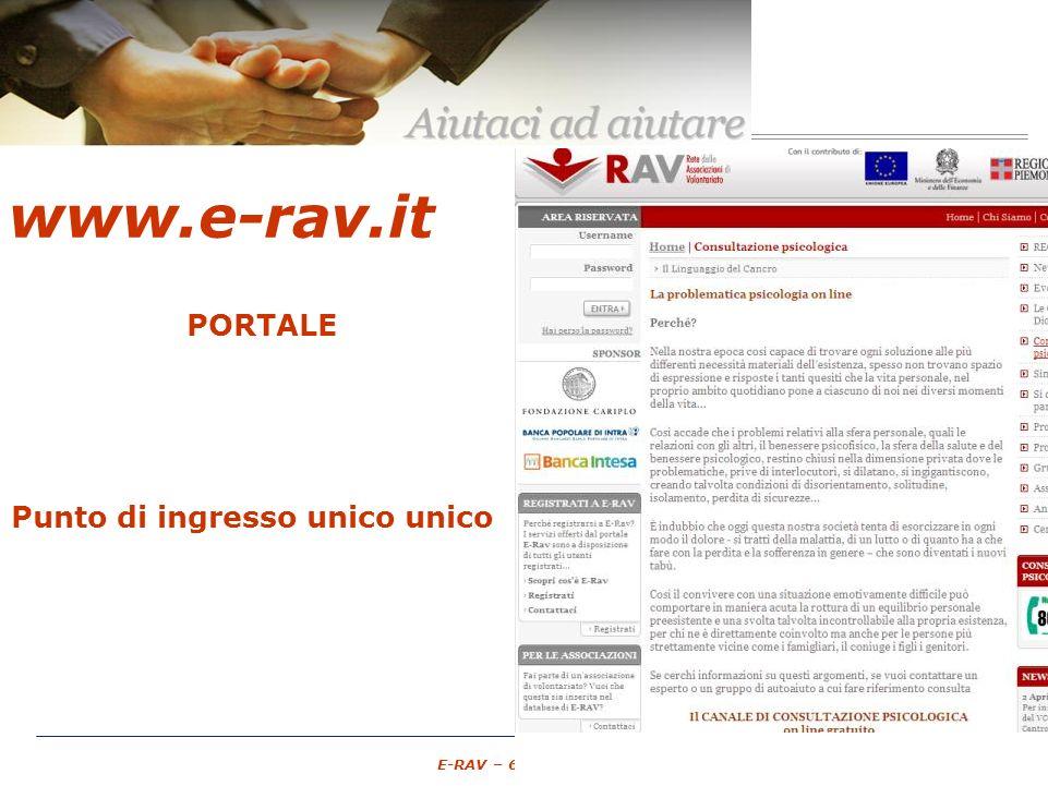 – 11 – E-RAV – 6 Maggio 2007 www.e-rav.it PORTALE Associazioni di Volontariato GRATUITO spazio pubblico Punto di ingresso unico unico