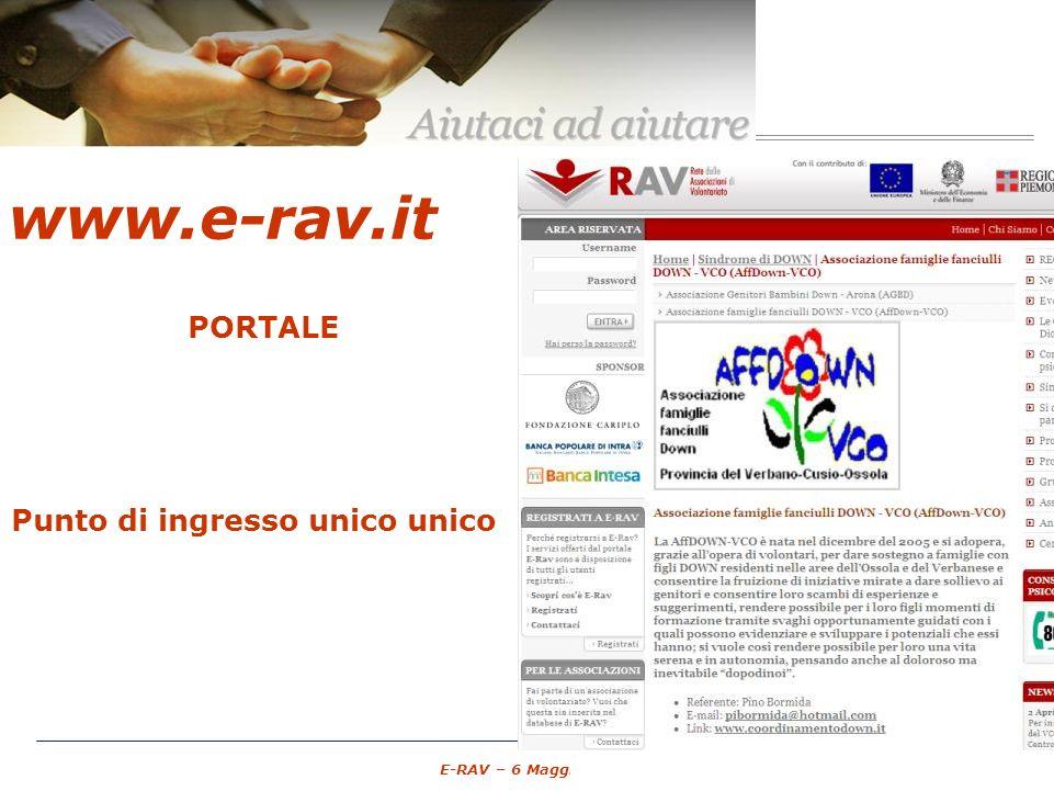 – 14 – E-RAV – 6 Maggio 2007 www.e-rav.it PORTALE Associazioni di Volontariato GRATUITO spazio pubblico Punto di ingresso unico unico