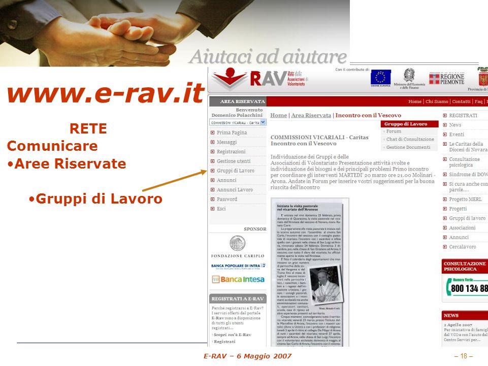 – 18 – E-RAV – 6 Maggio 2007 www.e-rav.it RETE Comunicare Aree Riservate E-mail (Messaggi) Gruppi di Lavoro Forum Chat di comunicazione Documentazione Gestione associati Pubblicare Annunci Annunci Cercalavoro