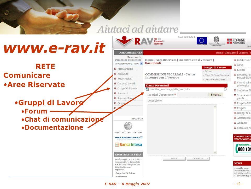– 19 – E-RAV – 6 Maggio 2007 www.e-rav.it RETE Comunicare Aree Riservate E-mail (Messaggi) Gruppi di Lavoro Forum Chat di comunicazione Documentazione Gestione associati Pubblicare Annunci Annunci Cercalavoro