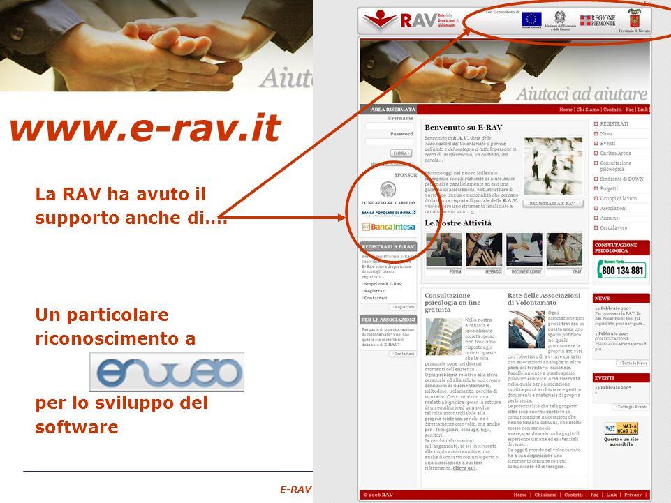 – 22 – E-RAV – 6 Maggio 2007 www.e-rav.it La RAV ha avuto il supporto anche di….