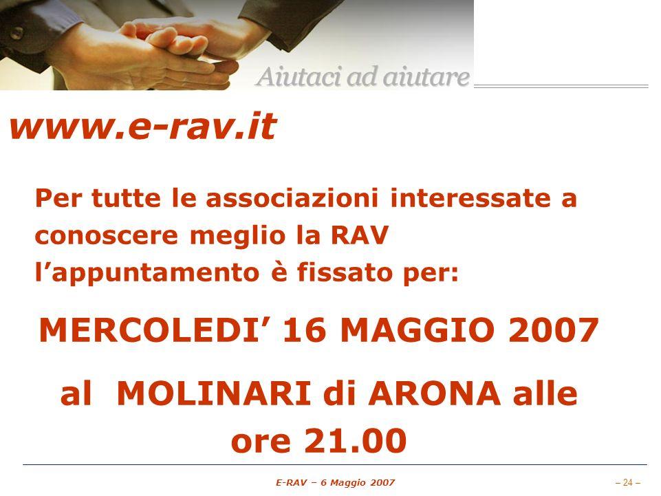 – 24 – E-RAV – 6 Maggio 2007 www.e-rav.it Per tutte le associazioni interessate a conoscere meglio la RAV lappuntamento è fissato per: MERCOLEDI 16 MAGGIO 2007 al MOLINARI di ARONA alle ore 21.00