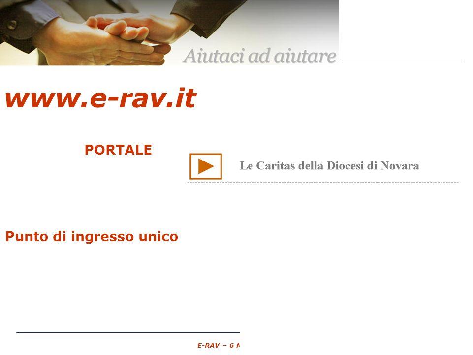 – 9 – E-RAV – 6 Maggio 2007 PORTALE Associazioni di Volontariato GRATUITO spazio pubblico Punto di ingresso unico unico www.e-rav.it