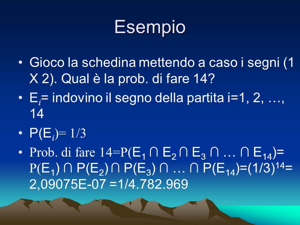 Esempio Gioco la schedina mettendo a caso i segni (1 X 2). Qual è la prob. di fare 14? E i = indovino il segno della partita i=1, 2, …, 14 P(E i )= 1/
