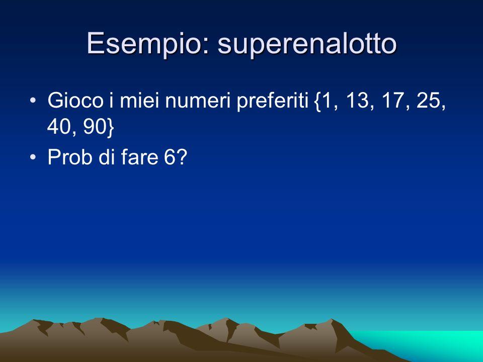 Esempio: superenalotto Gioco i miei numeri preferiti {1, 13, 17, 25, 40, 90} Prob di fare 6?