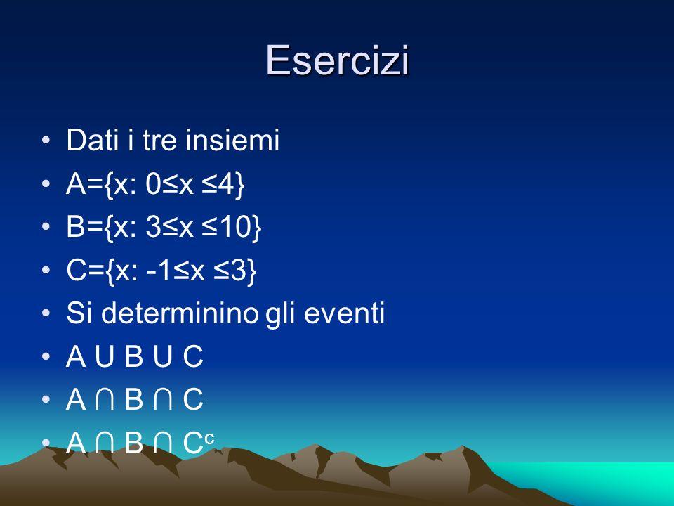 Esercizi Dati i tre insiemi A={x: 0x 4} B={x: 3x 10} C={x: -1x 3} Si determinino gli eventi A U B U C A B C A B C c