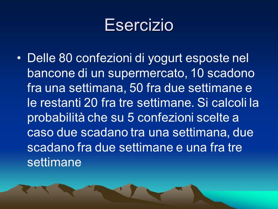 Esercizio Delle 80 confezioni di yogurt esposte nel bancone di un supermercato, 10 scadono fra una settimana, 50 fra due settimane e le restanti 20 fr