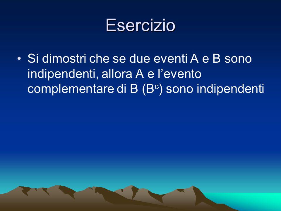 Esercizio Si dimostri che se due eventi A e B sono indipendenti, allora A e levento complementare di B (B c ) sono indipendenti