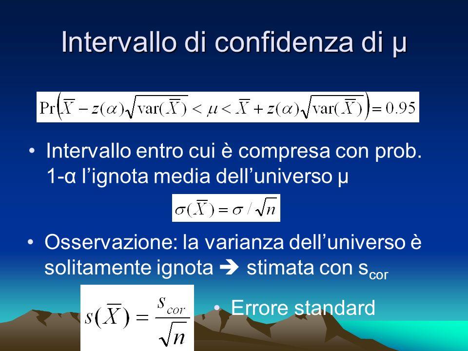 Intervallo di confidenza di µ Intervallo entro cui è compresa con prob. 1-α lignota media delluniverso µ Osservazione: la varianza delluniverso è soli