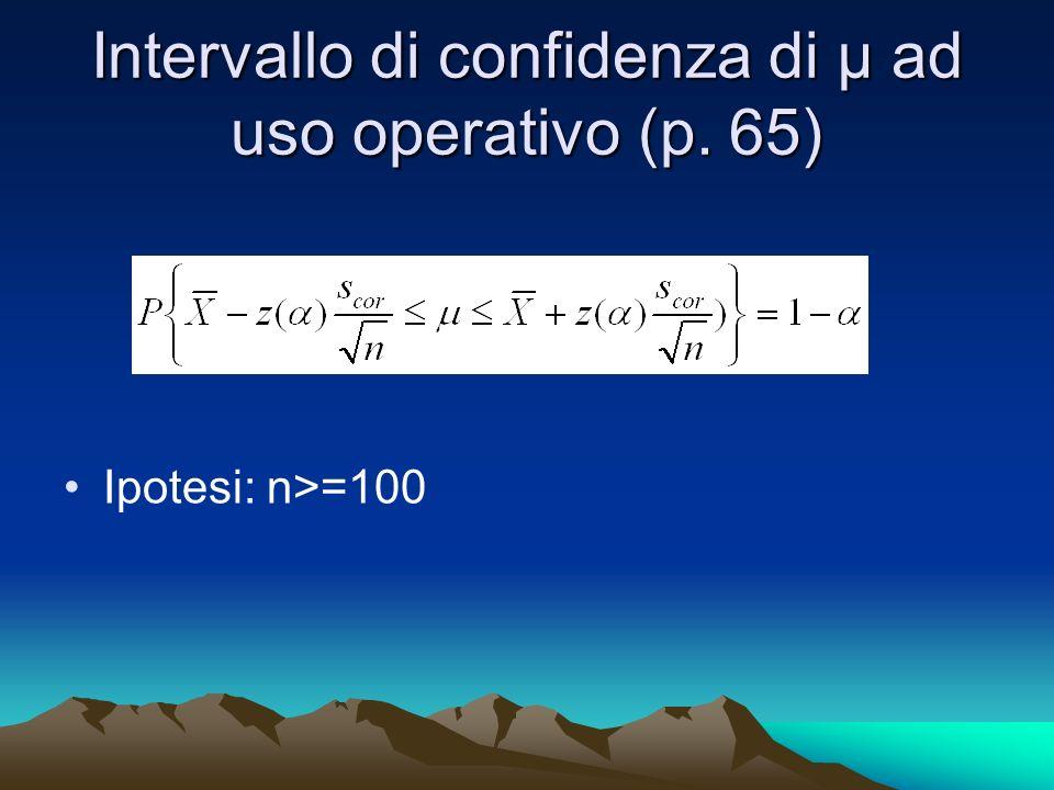 Intervallo di confidenza di µ ad uso operativo (p. 65) Ipotesi: n>=100